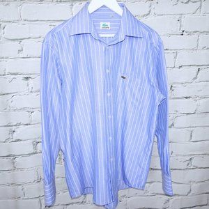 Vintage Lacoste Blue Shirt with White Stripes